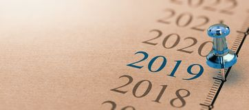 Year 2019, Two Thousand Nineteen on a timeline. 3D illustration of a timeline on kraft paper with focus on 2019 and a blue thumbtack. Year two thousand nineteen Royalty Free Stock Photos