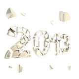 Year two thousand and thirteen broken into pieces. Year 2013 two thousand and thirteen emblem broken into tiny glossy chrome silver pieces isolated on white Royalty Free Stock Photos