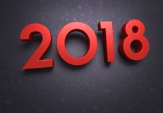 2018 Greeting card. Year 2018 typescript date, red colored, on a soft glittering black greeting card Stock Photo