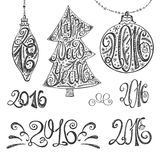2016 year typography hand drawn title set.Black. 2016 new year typography title,numbers set.Hand drawn Christmas balls,tree shapes with lettering.Card elements Stock Image