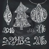 2016 year typography hand drawn titles.Chalk. 2016 new year typography title,numbers set.Hand drawn Christmas balls,tree shapes with lettering.Card elements set Stock Images