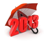 Year 2013 under umbrella (clipping path included) Stock Images