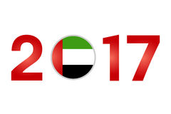 Year 2017 with United Arab Emirates Flag. New Year 2017 with United Arab Emirates  Flag Isolated on White Background - Vector Illustration Stock Photography