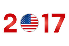 Year 2017 with USA American Flag. Isolated on White Background - Vector Illustration Stock Images