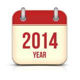 2014 Year Vector Calendar App Icon With Reflection Royalty Free Stock Photos