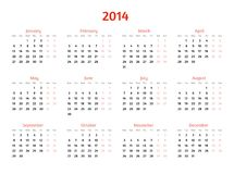 2014 Year vector calendar. Flat style design Stock Photo