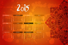 Year vector calendar. indian mandala design. Stock Photography