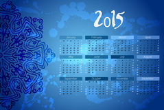Year vector calendar. indian mandala design. Calendar vertical - week starts with Sunday. Vector Royalty Free Stock Images