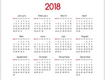 2018 year vector calendar modern simple design with round  Royalty Free Stock Photo