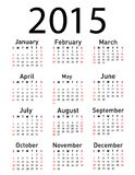 2015 year vector calendar. Simple 2015 year vector calendar Stock Photos