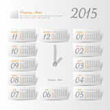 2015 year vector calendar stylized clock. For business wall calendar Stock Image