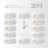 2015 year vector calendar stylized clock. For business wall calendar Vector Illustration