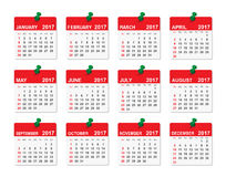 2017 year vector calendar. Week starts with Sunday. Vector illustration Royalty Free Stock Photography