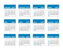 2017 year vector calendar. Week starts with Sunday. Vector illustration Royalty Free Stock Photo