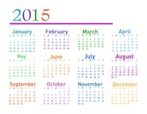 2015 year vector calendar. On white Royalty Free Illustration