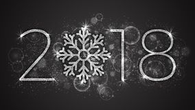 2018 Year Vector Illustration. 2018 Happy New Year and Merry Christmas Vector Illustration. 3D Silver Sparkling Lettering and Stylized Snowflake with Shimmer Royalty Free Stock Images