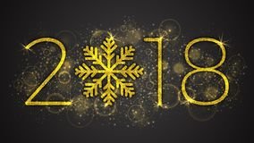 2018 Year Vector Illustration. 2018 Happy New Year and Merry Christmas Vector Illustration. 3D Golden Sparkling Lettering and Stylized Snowflake with Shimmer Royalty Free Stock Images