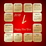 2015 year vector red and gold calendar stylized clock. For business wall calendar Stock Photography