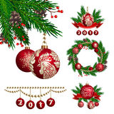 2017 Year. Vector set of New Year and Christmas decorations vector illustration