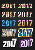 2017 Year vector typography. Different styles collection Stock Image