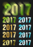 2017 Year vector typography. Different styles collection Stock Images