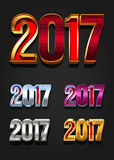 2017 Year vector typography. Different styles collection Stock Photo