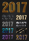 2017 Year vector typography. Different styles collection Stock Photos