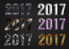 2017 Year vector typography. Different styles collection Stock Photography
