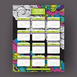 2018 year vector vertical calendar. Week starts with Sunday. Set of 12 Months. Planner for 2018 Year. Vivid waves doodle ornament background Stock Images