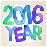 2016 Year vector watercolor inscription. 2016 Year vector hand drawn colorfull watercolor inscription Stock Image