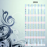Year 2016 vertical calendar. Schedule with artistic ornament on backdrop Royalty Free Stock Photography