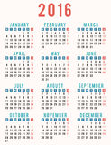 Year 2016 vintage calendar. Design Stock Photography