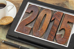Year 2015 in vintage wood type Stock Image
