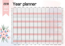 Year Wall Planner 2018. Year Wall Planner. Plan out your whole year with this 2018 Wall Calendar Template. Vector Design royalty free illustration