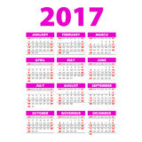 Year Wall Planner. Plan out your whole year with this 2017 Wall Year Planner. Yearly Wall Calendar Planner Template. Vector Design. Template pink art Stock Images