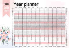 Year Wall Planner. Plan out your whole  with this 2017   . Yearly  Calendar  Template. Vector Design Royalty Free Stock Photography