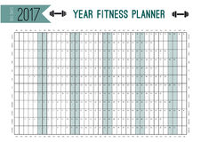 Year Wall Planner template. Plan out your whole fitness with this calendar. Vector Design for sport and diet. Year Wall Planner template. Plan out your whole Stock Photography