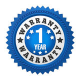 1 Year Warranty Badge Isolated. On white background. 3D render royalty free illustration