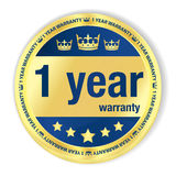 1 year warranty badge. Badge with 1 year warranty title, image of crown and five golden stars Royalty Free Illustration