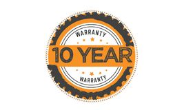 10 year warranty black stamp. Logo  guarantee Stock Photography