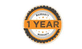 1 year warranty stamp. 1 year warranty black stamp logo  guarantee Stock Images