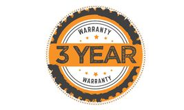 3 year warranty stamp. 3 year warranty black stamp logo vector guarantee Stock Photo
