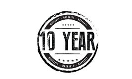 10 year warranty stamp. 10 year warranty black stamp logo vector guarantee vector illustration