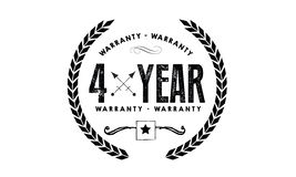 4 year warranty. Black stamp vector Stock Photo