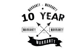 10 year warranty. Black stamp vector stock illustration