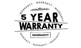 5 year warranty. Black stamp vector Royalty Free Stock Images