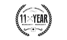 11 year warranty. Black stamp vector Stock Image
