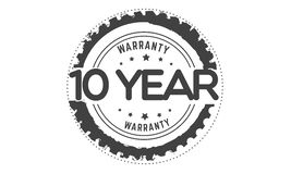 10 year warranty black stamp. Logo  guarantee Stock Images