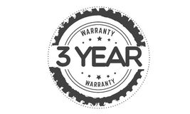 3 year warranty black stamp. Logo guarantee royalty free illustration