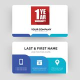 1 year warranty business card design template, Visiting for your company. 1 year warranty, business card design template, Visiting for your company, Modern Royalty Free Stock Photo